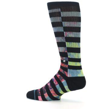 Image of Black Multi Stripe Men's Casual Socks (side-2-13)