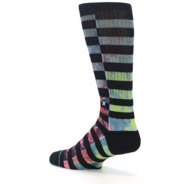 Image of Black Multi Stripe Men's Casual Socks (side-2-back-14)