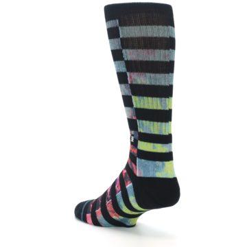 Image of Black Multi Stripe Men's Casual Socks (side-2-back-15)