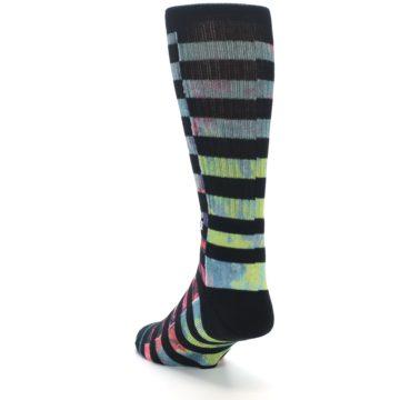 Image of Black Multi Stripe Men's Casual Socks (side-2-back-16)
