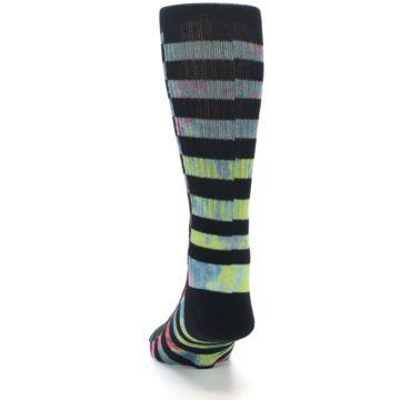 Image of Black Multi Stripe Men's Casual Socks (back-17)