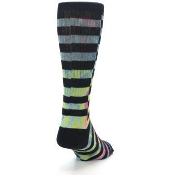 Image of Black Multi Stripe Men's Casual Socks (side-1-back-20)