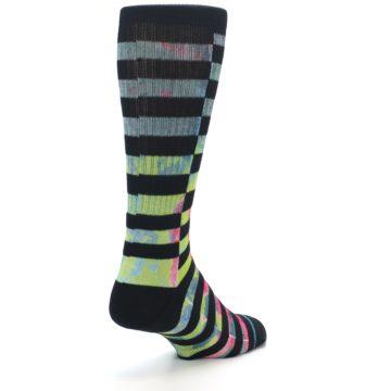 Image of Black Multi Stripe Men's Casual Socks (side-1-back-21)