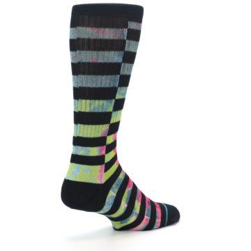 Image of Black Multi Stripe Men's Casual Socks (side-1-back-22)