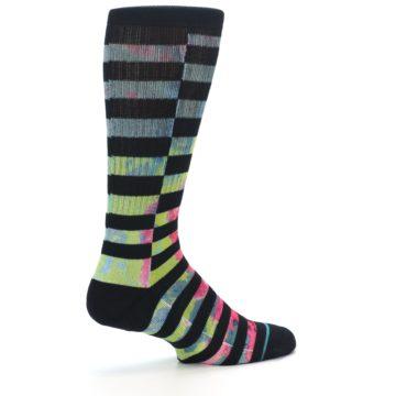 Image of Black Multi Stripe Men's Casual Socks (side-1-23)