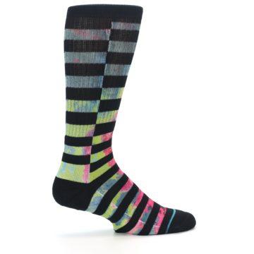Image of Black Multi Stripe Men's Casual Socks (side-1-24)