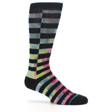 Image of Black Multi Stripe Men's Casual Socks (side-1-25)