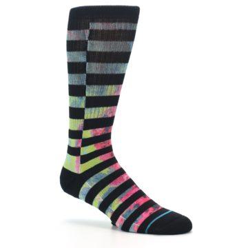Image of Black Multi Stripe Men's Casual Socks (side-1-26)