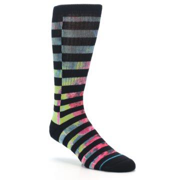 Image of Black Multi Stripe Men's Casual Socks (side-1-27)