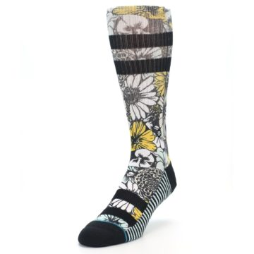 Image of Black White Yellow Floral Men's Casual Socks (side-2-front-07)