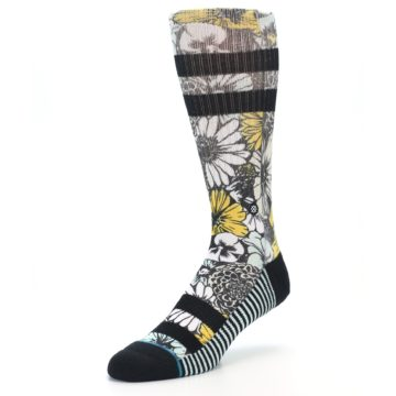 Image of Black White Yellow Floral Men's Casual Socks (side-2-front-08)