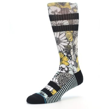 Image of Black White Yellow Floral Men's Casual Socks (side-2-09)