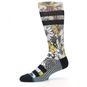 Image of Black White Yellow Floral Men's Casual Socks (side-2-10)