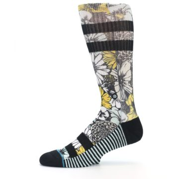 Image of Black White Yellow Floral Men's Casual Socks (side-2-11)