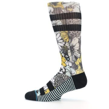 Image of Black White Yellow Floral Men's Casual Socks (side-2-12)