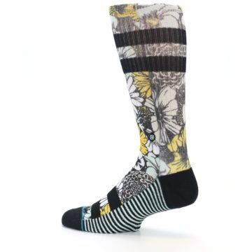 Image of Black White Yellow Floral Men's Casual Socks (side-2-13)