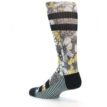 Image of Black White Yellow Floral Men's Casual Socks (side-2-back-14)