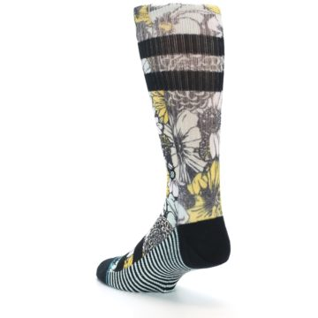 Image of Black White Yellow Floral Men's Casual Socks (side-2-back-15)