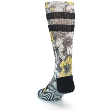 Image of Black White Yellow Floral Men's Casual Socks (side-2-back-16)