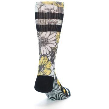 Image of Black White Yellow Floral Men's Casual Socks (side-1-back-20)