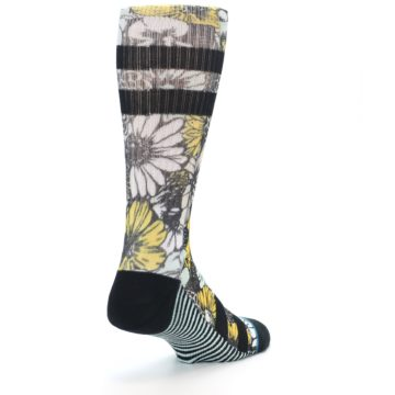 Image of Black White Yellow Floral Men's Casual Socks (side-1-back-21)