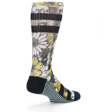 Image of Black White Yellow Floral Men's Casual Socks (side-1-back-22)