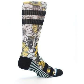 Image of Black White Yellow Floral Men's Casual Socks (side-1-23)