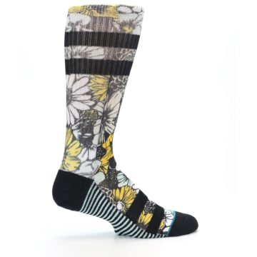 Image of Black White Yellow Floral Men's Casual Socks (side-1-24)
