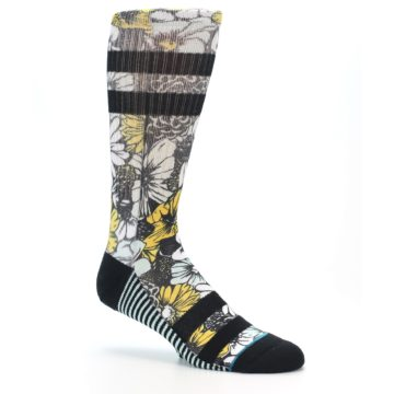 Image of Black White Yellow Floral Men's Casual Socks (side-1-26)