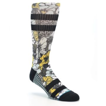 Image of Black White Yellow Floral Men's Casual Socks (side-1-27)