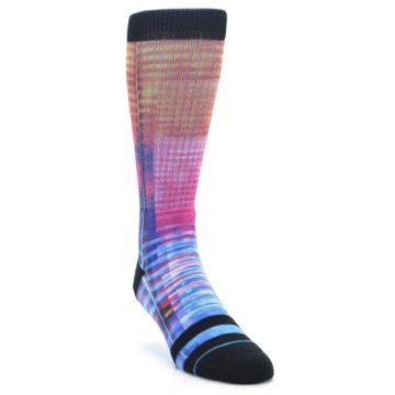 Image of Multi-Color Stripe Pattern Men's Casual Socks (side-1-front-02)