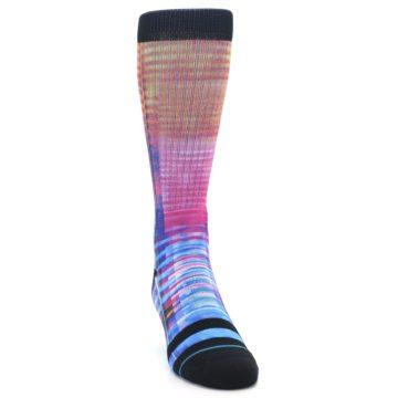 Image of Multi-Color Stripe Pattern Men's Casual Socks (side-1-front-03)