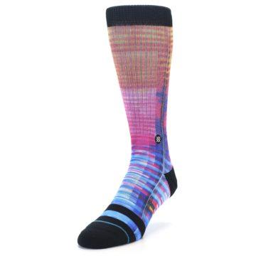Image of Multi-Color Stripe Pattern Men's Casual Socks (side-2-front-07)
