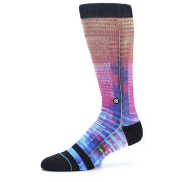 Image of Multi-Color Stripe Pattern Men's Casual Socks (side-2-10)