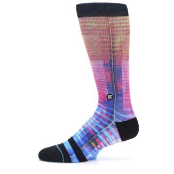Image of Multi-Color Stripe Pattern Men's Casual Socks (side-2-11)