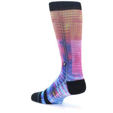 Image of Multi-Color Stripe Pattern Men's Casual Socks (side-2-back-14)