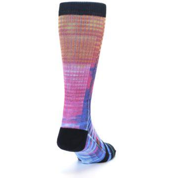 Image of Multi-Color Stripe Pattern Men's Casual Socks (side-1-back-20)