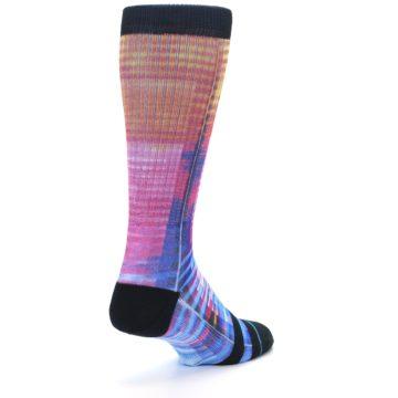 Image of Multi-Color Stripe Pattern Men's Casual Socks (side-1-back-21)