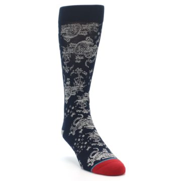 Image of Navy Grey Tiger Pattern Men's Casual Socks (side-1-front-02)