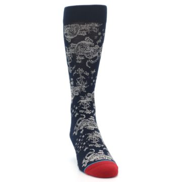 Image of Navy Grey Tiger Pattern Men's Casual Socks (side-1-front-03)