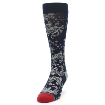 Image of Navy Grey Tiger Pattern Men's Casual Socks (side-2-front-06)