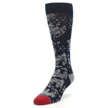 Image of Navy Grey Tiger Pattern Men's Casual Socks (side-2-front-07)