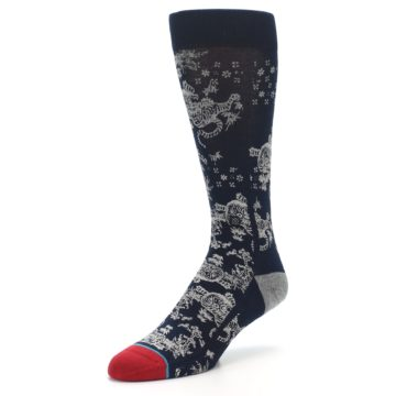 Image of Navy Grey Tiger Pattern Men's Casual Socks (side-2-front-08)