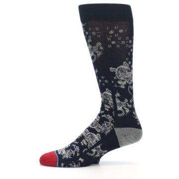 Image of Navy Grey Tiger Pattern Men's Casual Socks (side-2-11)