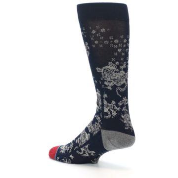 Image of Navy Grey Tiger Pattern Men's Casual Socks (side-2-back-14)