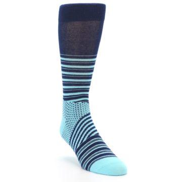 Image of Navy Light Blue Stripe Men's Dress Socks (side-1-front-02)