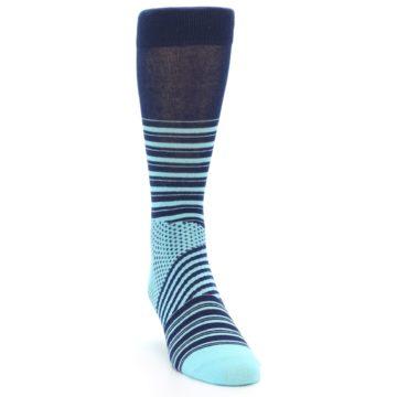 Image of Navy Light Blue Stripe Men's Dress Socks (side-1-front-03)