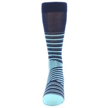 Image of Navy Light Blue Stripe Men's Dress Socks (front-05)