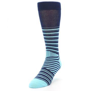 Image of Navy Light Blue Stripe Men's Dress Socks (side-2-front-07)