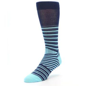 Image of Navy Light Blue Stripe Men's Dress Socks (side-2-front-08)